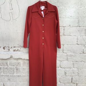 Other - 1970s Country Miss Rust Orange Jumpsuit